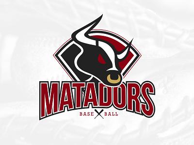 Matador Logo bull logo baseball matador horn icon bat glove ball