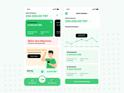 Virtual Investment mobil aplication product design app ux ui
