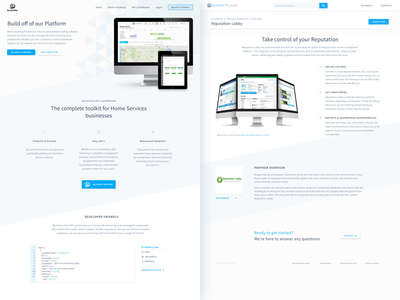Developer partners framework enterprise saas marketing simple branding api integration product platform interface ui website
