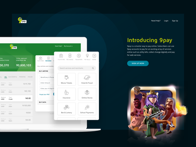 9pay.com.ng search ux ui payment dashboard analytics web design landing page