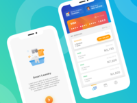 Smart Laundry App chart illustration payment card laundry mobile dashboard android analytics transaction