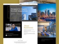 Hydegrove Website minimal home page corporate website typography. landing page real estate web design