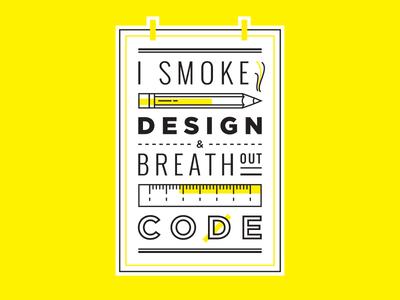 I Smoke Design & Breathe Out Code Sticker / Device Skin