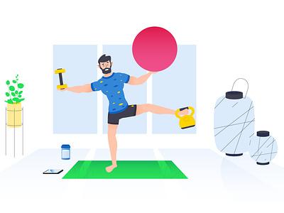 Balancing act yoga fitness design flat character design character vector 2d illustration animation