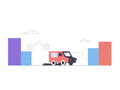Ving style frame adobe adobeillustrator insurancebrokers flat vector malta car courier van insurance animation