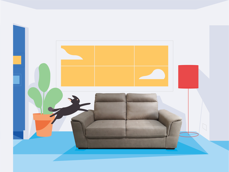 Krea Style frame sofa vector 3d 3danimation furniture interior cat collage illustration 2d animation