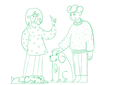 Us & the dogs linework characters sketch illustration animation 2d