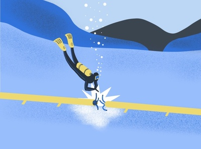 Diver procreate illustration style sea engineering geoscience styleframe