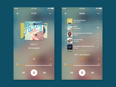 Music Player App clean roboto debut switch queue repeat shuffle album cover blur music music app