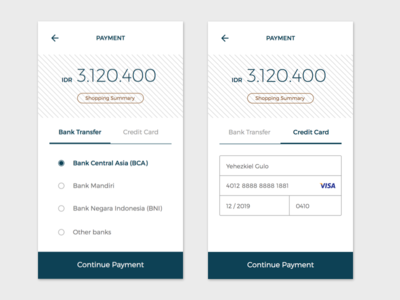 Payment Page  mobile ui clean simple transfer cc card credit method payment