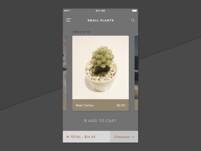 Browsing Plants interface app ios swipe checkout card plant shop