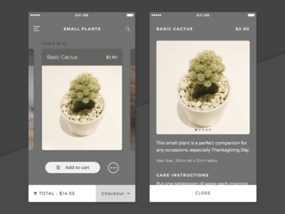 Browsing Plants (revised) mobile buy swipe shop plant browse detail ios card app interface