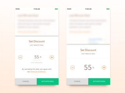 Setting Discount dialog ios ui deal promotion mobile pop up modal