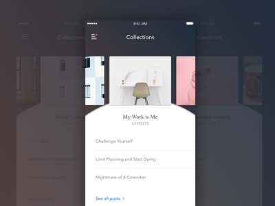 Post Collections shadow article ios mobile list categories carousel