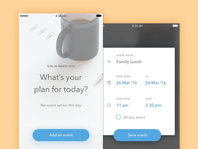 Calendar Event day date time ui mobile ios dialog box pop up modal diffuse shadow schedule