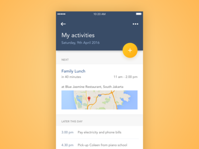 My Activities diffuse shadow fab map mobile ios app todo event task schedule planner activity