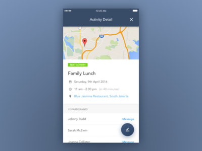 Activity Detail badge fab map mobile ios app todo event task schedule planner activity