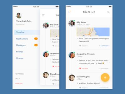Social App sharing post activity navigation ui map fab diffuse shadow feed timeline ios sidebar
