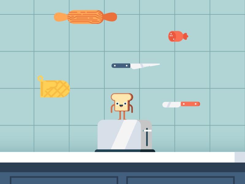 Jump videogame proposal game toaster knife kitchen character design character toast videogame
