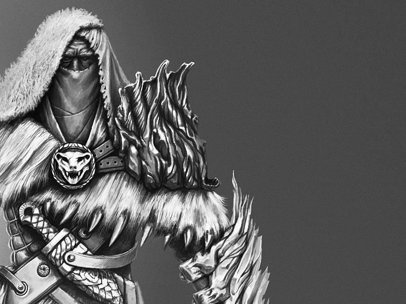 Warrior Character  art concept greyscale warrior painting digital armor fantasy character