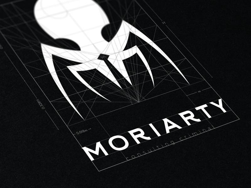 Moriarty Logo golden ratio negative space black and white skull tuxedo octopus spider grid branding logo moriarty