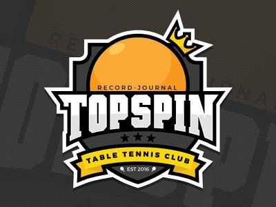 Topspin Logo ball crown sports logo logo est 2016 record-journal ping pong table tennis topspin