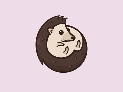 Kiwi cute illustration curl circle hedgehog