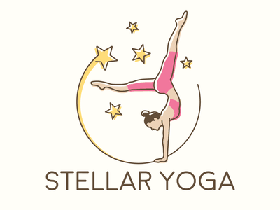 Stellar Yoga pink yellow star logo yoga stellar