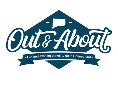 Out & About Logo design blue connecticut ct logo out and about