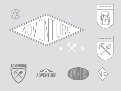Adventure outside concept shovel pick axe backpack branding design adventure