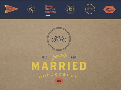 Young Married Conference branding cardboard blue orange yellow tandem vintage retro bike conference