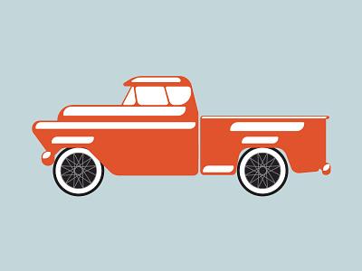 Retro Truck flat illustration vintage retro classic car truck orange