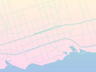 Map cool ontario lake yellow blue pink roads map