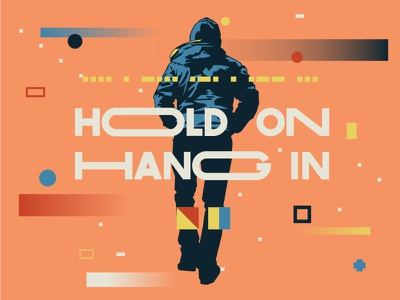 Hold On Hang In typeface flags gradient walk flat morse code nautical type branding