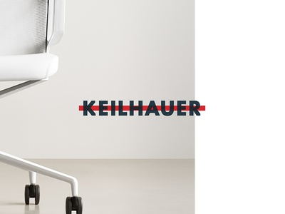 Keilhauer overlay type blue red logo website cards identity design chairs branding keilhauer