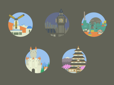 Overwatch Map Icons game muted colors minimal icons flat overwatch