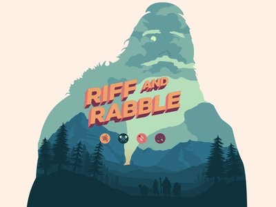 Riff and Rabble olly moss stream twitch game branding logo icons muted colors flat illustration dungeons and dragons