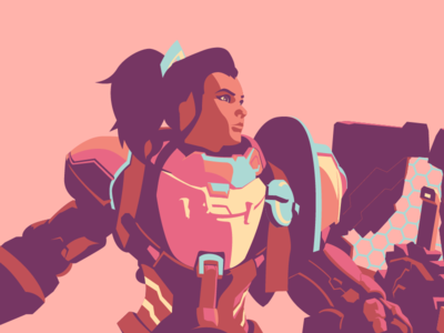 Brigitte character brigitte illustration game clean minimal flat overwatch