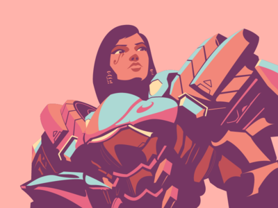 Pharah overwatch flat minimal clean game illustration pharah character
