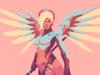 Mercy character mercy illustration game clean minimal flat overwatch