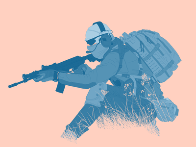 Spec Ops illustration pew pew gun operator french detailed flat blue pink illustartor illustartion