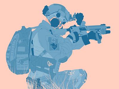 Soldier Illustration minimal pastel blue pink illustration minimalist muted colour