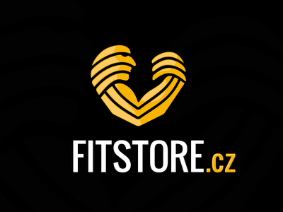 Fitstore heart flexing biceps man lines muscle fitness