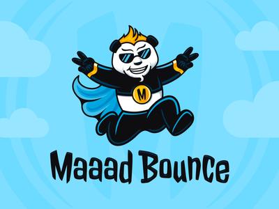 Maaad Bounce mascot animal character bouncing logo hero superhero panda fly jump challenge inflatable