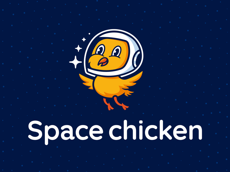 Space chicken character animal star astronaut spacesuit chicken space