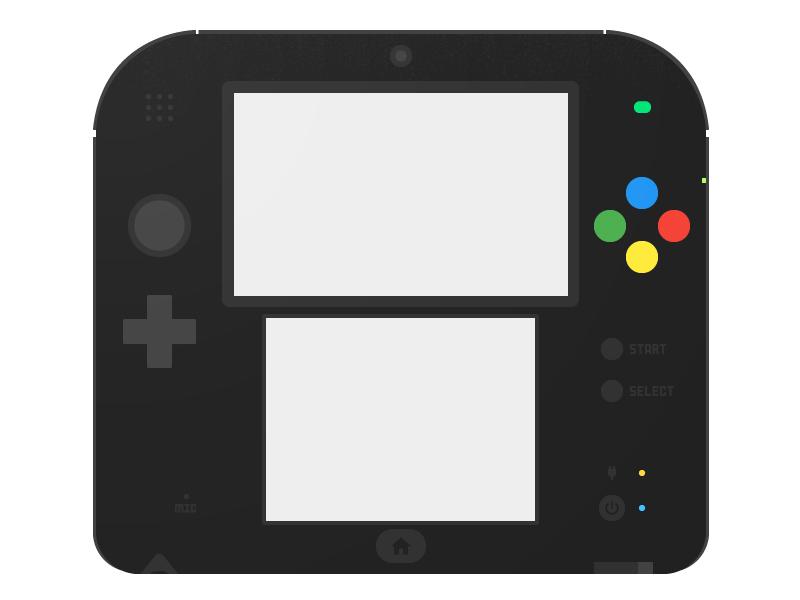 Nintendo 2DS flat illustration render simple flat 2ds nintendo