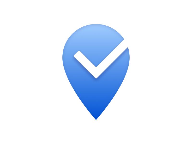 Yending location design illustration iconography logo tick geolocation icon application app ios android