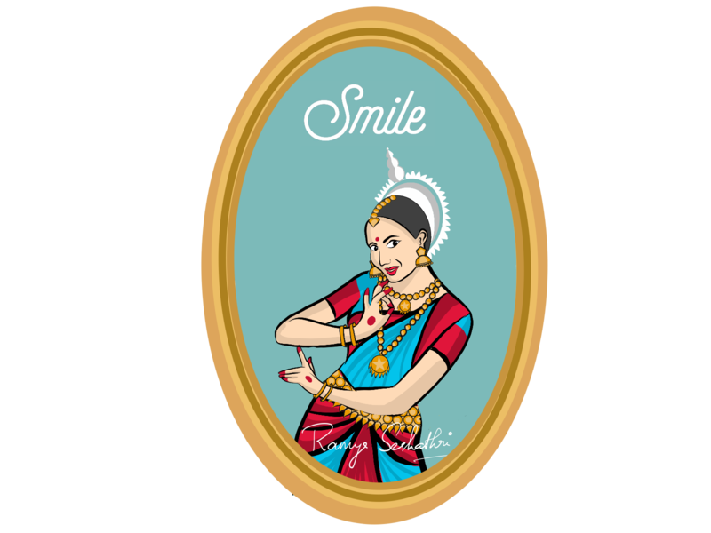 Smile expressed in Indian dance form Odissi