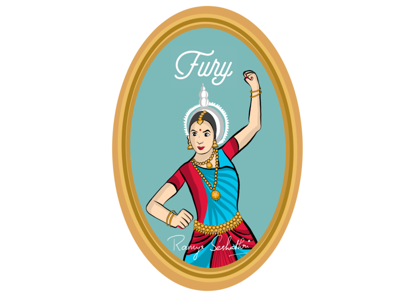 Fury(anger) expressed in Indian dance form Odissi