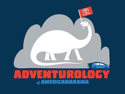 Adventurology america car bonnaroo toyota dinosaur illustration design logo
